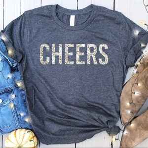 Tops - Cheers glitter graphic tee holiday t-shirt New!